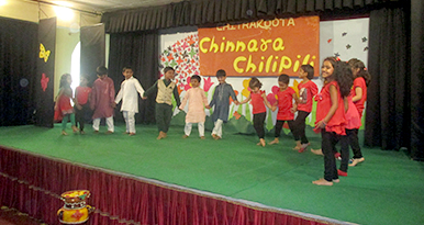 We proudly show-case class-wise cultural shows under the name of Chinnara Chilipili, where students sing, narrate stories, perform skits, put on fancy dresses etc.