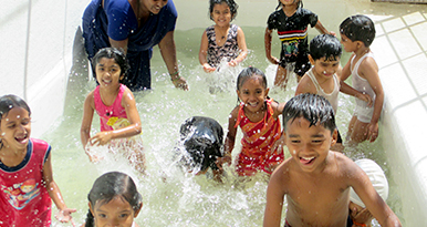 Children love our splash pool. A splash of water brings in a lot of excitement and enthusiasm.