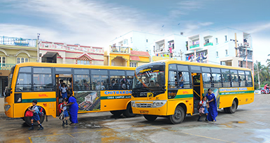 School buses are equipped with experienced drivers and trained conductors. Buses are also GPRS-enabled. Assistants take utmost care of students while boarding and unboarding.